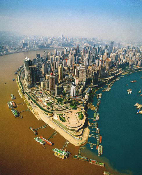 Confluence of the Jialing and Yangtze Rivers in Chongqing, China