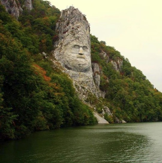 Rock statue of King Decebal on the Danube River, Romania