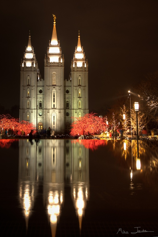 Salt Lake City Temple at Christmas. Utah