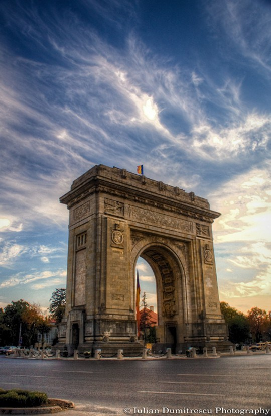 11The Triumphal Arch, Bucharest, Romania.