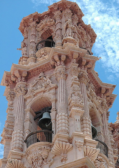 28The baroque bell tower of Santa Prisca Church in Taxco, Mexico