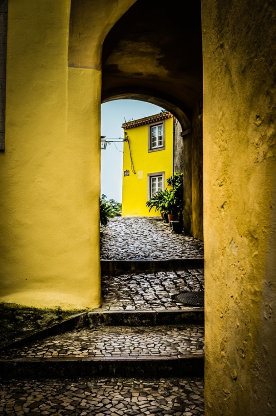 Cobble stoned passage way in Sintra, Portugal