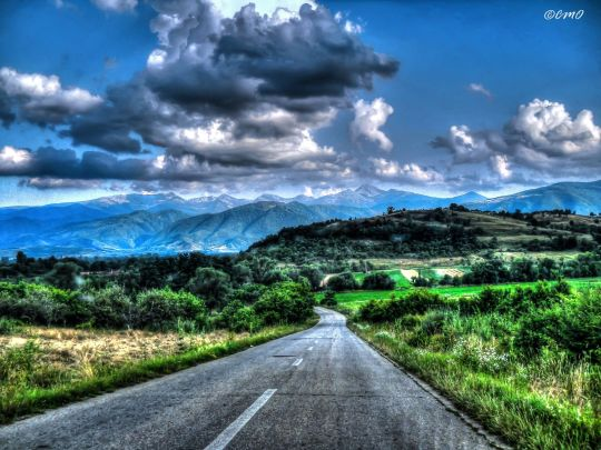 On the road to Poiana Rusca Mountains