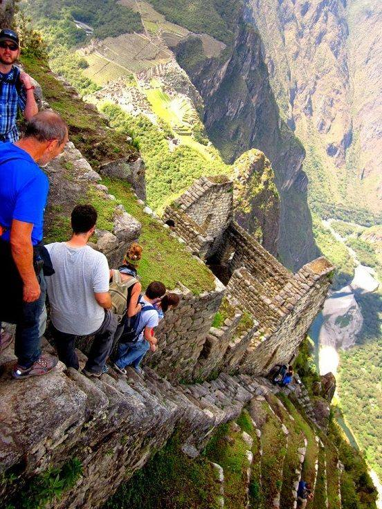 11The Almost Vertical Stairs at Machu Picchu in Peru
