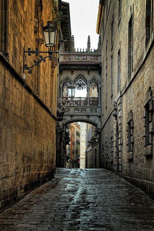 Cobblestone Street, Barcelona, Spain.
