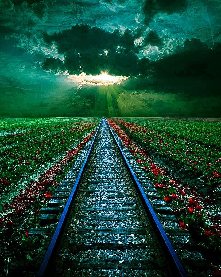 Rail Sunset, Romania.