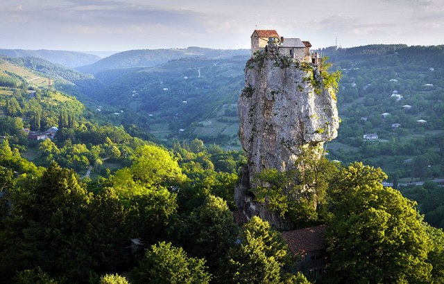 "26The Katskhi Pillar, where a Georgian hermit has lived for the past twenty years to be ""closer to god"""